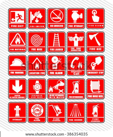 fire, Set of safety signs