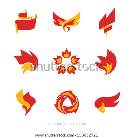 Fire signs. Vector icons set. - stock vector