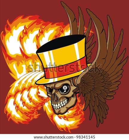 fire skull - stock vector