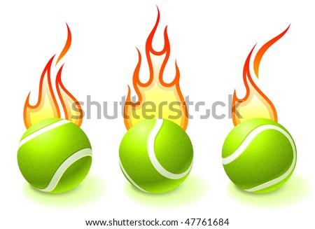 Fire Tennis Ball Collection Original Vector Illustration - stock vector
