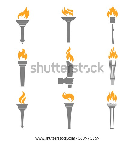 Fire Torch Victory Champion Flame Icons Set Isolated Vector Illustration