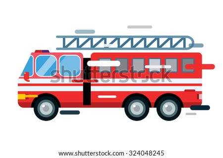 Fire truck car isolated. Fire truck vector cartoon silhouette. Fire truck mobile fast emergency service. Fire truck fast moving. Fire truck vector illustration.Vector rescue fire truck.Emergency truck - stock vector