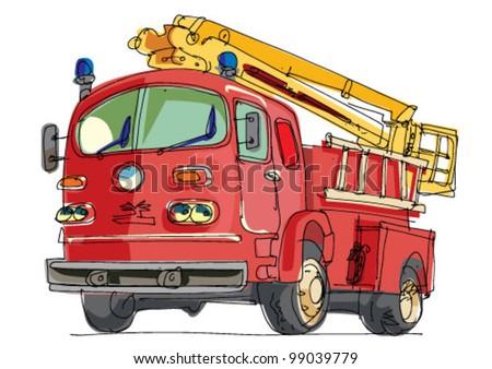 fire truck - cartoon - stock vector
