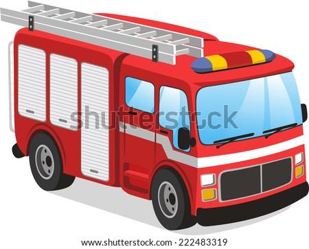Fire truck cartoon illustration  - stock vector