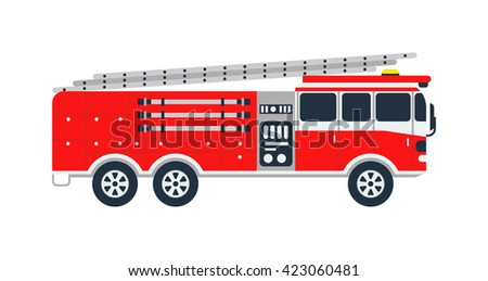 Fire truck rescue engine transportation and vector transport safety fire truck. Firefighter emergency red vehicle fire truck and fire truck assist response burning equipment. Fire truck alarm car. - stock vector