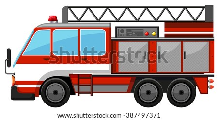 Fire truck with ladder illustration