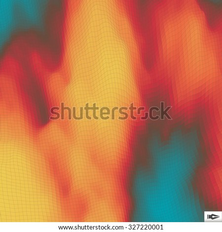 Fire Vector Background. Mosaic. Abstract Mesh Illustration. Design Template. - stock vector