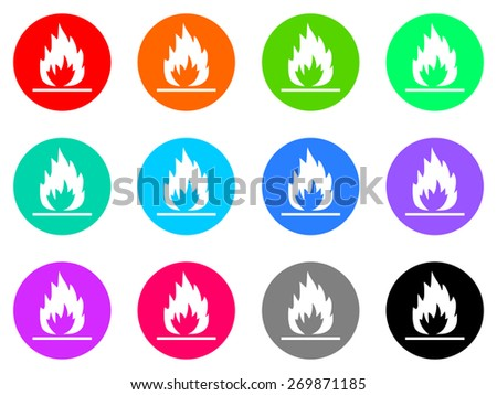 fire vector icons set - stock vector
