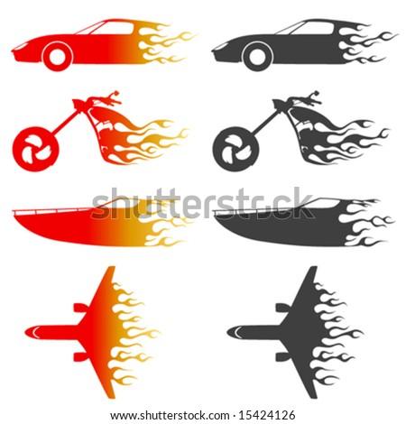 fire vehicles vector - stock vector