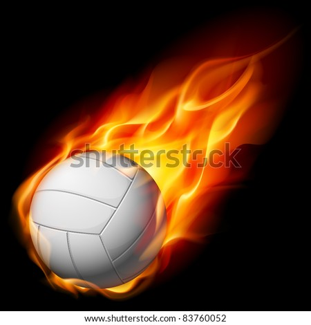 Fire volleyball. Illustration on white background - stock vector