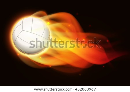 Fire volleyball, vector art and illustration. - stock vector