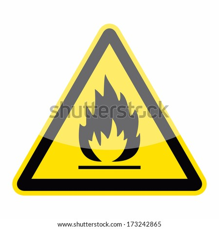 Fire warning sign (triangle sign, button) - stock vector