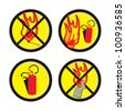 Fire Warning signs regarding the use of open flames - vector illustration - stock vector