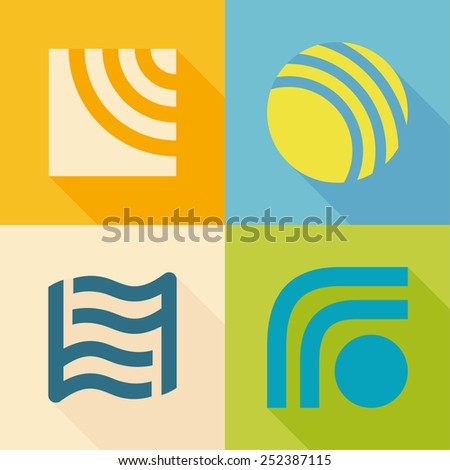 fire, water, sun, wind energy icon set, design template elements - stock vector