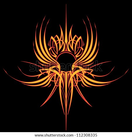 Fire Wing Pinstripe: Square Version Two color vector illustration of a pinstripe design element created for the hood of a hot rod or motorcycle tank. - stock vector