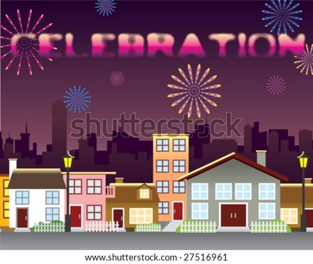 Fire work over the city - stock vector