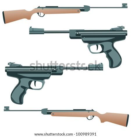 firearm, a pistol on a white background. Vector. - stock vector
