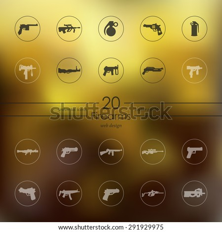 firearms modern icons for mobile interface on blurred background - stock vector