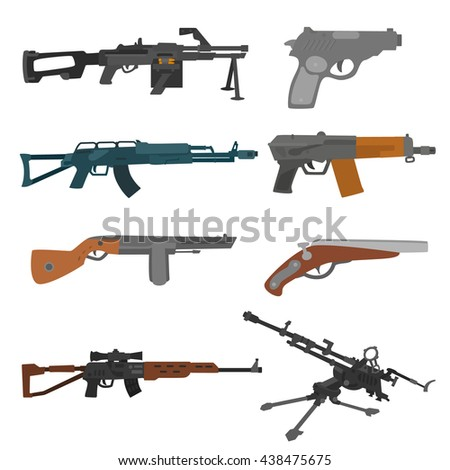 firearms set. collection of weapons on a white background