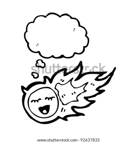 fireball cartoon character with thought bubble