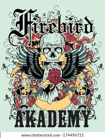 Firebird academy - stock vector