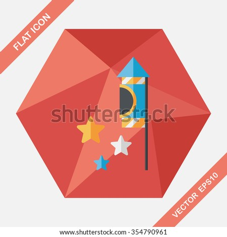 Firecracker flat icon with long shadow,eps10 - stock vector
