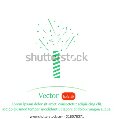 Firecracker with fireworks popping vector icon. - stock vector