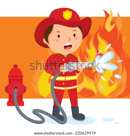 Firefighter. A fireman spraying a water hose to put out fire. - stock vector