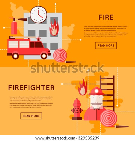 Firefighter and icons. Fire truck on fire. Flat style vector illustration - stock vector