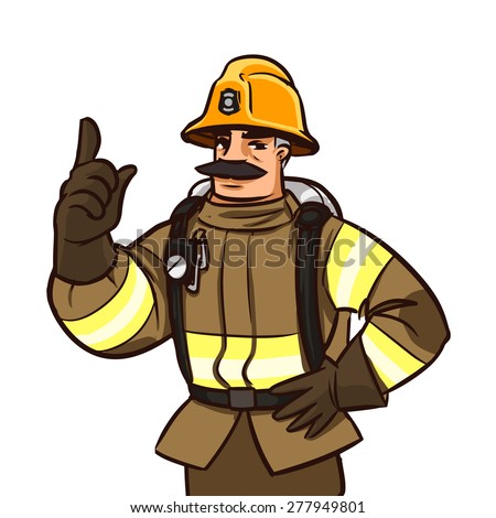 firefighter character giving advice. cartoon illustration isolated on white - stock vector