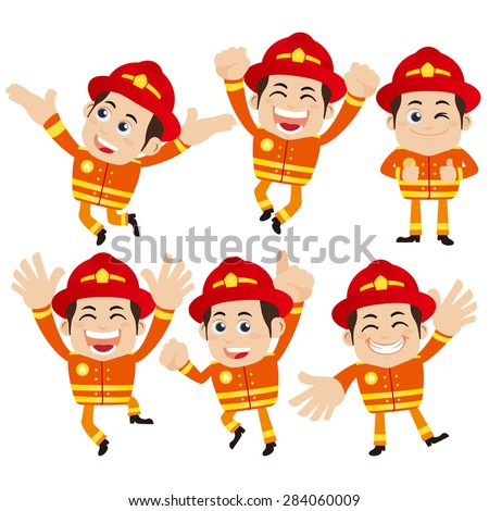 Firefighter characters in different poses - stock vector