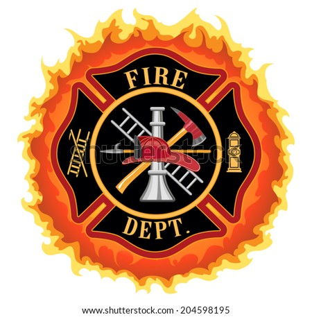 Firefighter Cross With Flames is an illustration of a fire department or firefighter Maltese cross symbol with flames. Includes firefighter tools symbol. - stock vector