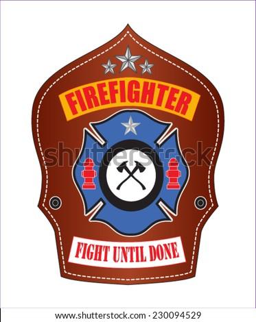 firefighter emblem - stock vector
