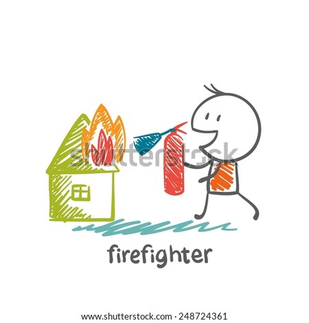 firefighter extinguish a fire extinguisher house illustration - stock vector