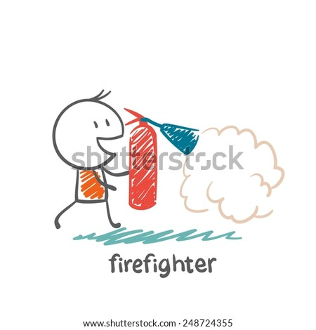 firefighter extinguish a fire extinguisher illustration - stock vector