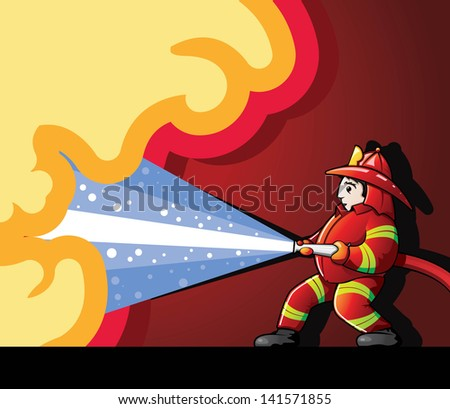 Firefighter Fighting Fire - stock vector