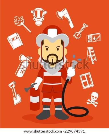 Firefighter flat illustration. Icon set - stock vector