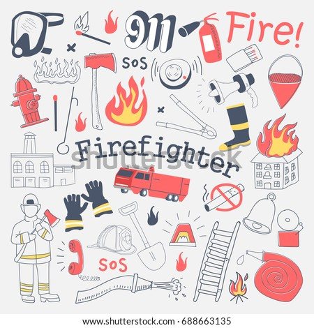 Firefighter Freehand Doodle. Fireman with extinguisher and Equipment Hand Drawn Elements Set. Vector illustration