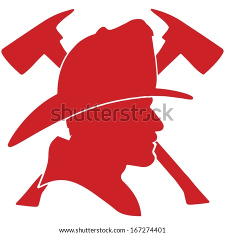 Firefighter head with helmet and two axes - stock vector