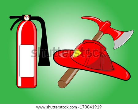 Firefighter helmet with crossed axe and Fire extinguisher on green background. Vector illustration.