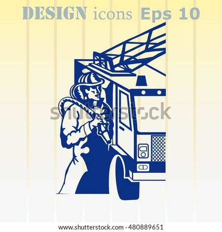 Firefighter Icon, Fireman Icon.