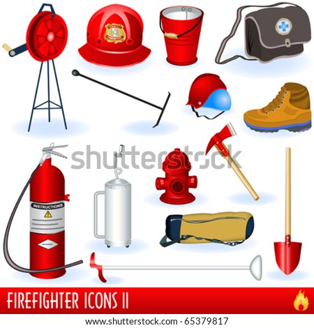 Firefighter icons - stock vector