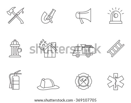 Firefighter icons in thin outlines.  - stock vector