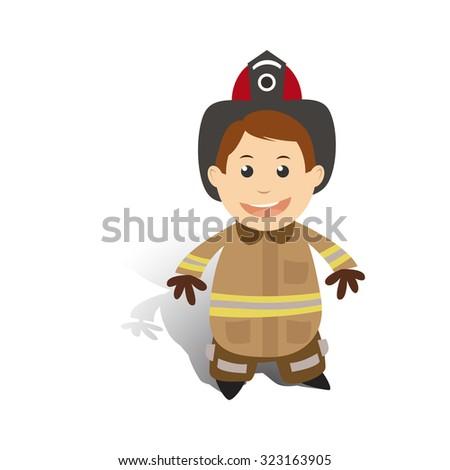 Firefighter in helmet. Profession. - stock vector