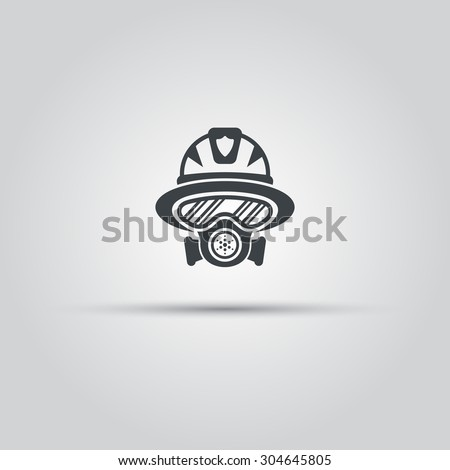 Firefighter silhouette face icon, fireman in gas mask avatar - stock vector