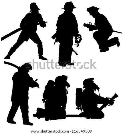 Firefighter Silhouette on white background - stock vector