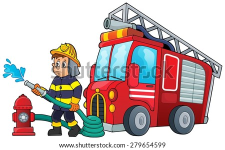 Firefighter theme image 3 - eps10 vector illustration. - stock vector