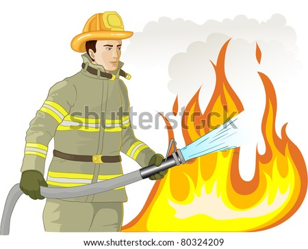 Firefighter with a fire hose against a fire - stock vector