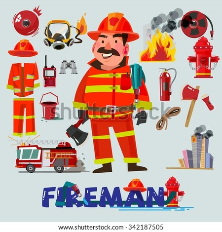 Firefighter with and first help equipment. character design. Fire truck and tools - vector illustration - stock vector
