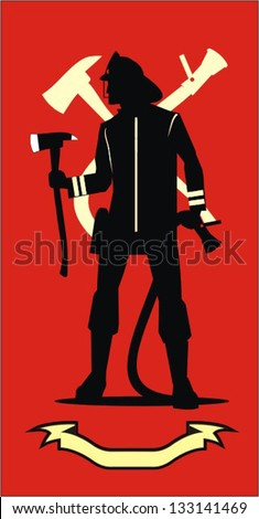 Firefighter with the axe and sprinkler, red color background combine with the yellow silhouette of axe and sprinkler and the yellow ribbon - stock vector